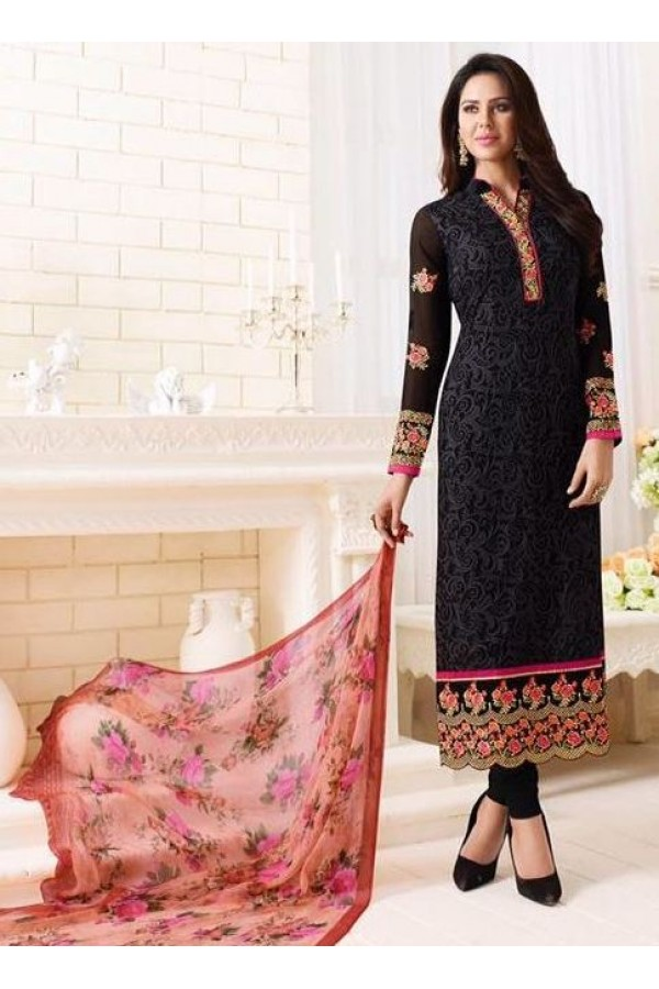 Ethnic Wear Black Georgette Embroidered Salwar Suit  - 1507