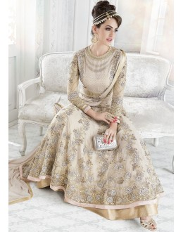 Festival Wear Light Golg Net Anarkali Suit - Glossy7209