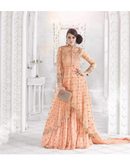 Wedding Wear Orange Net Anarkali Suit - Glossy7210