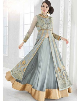 Party Wear Light Grey Georgette Lehenga Suit - Glossy7212