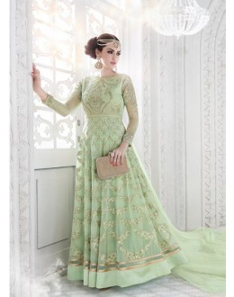Wedding Wear Light Green Georgette Anarkali Suit - Glossy7214