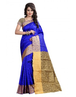 Party Wear Blue Cotton Silk Saree  - GULABO FLOWER BLUE