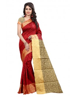 Ethnic Wear Cotton Silk Saree  - GULABO FLOWER RED