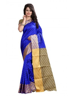 Party Wear Cotton Silk Saree  - GULABO PAN BLUE