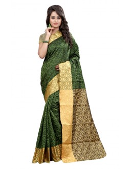 Party Wear Cotton Silk Saree  - GULABO ROUND MEHNDI
