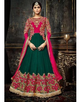 Wedding Wear Green & Pink Anarkali Suit  - 3992