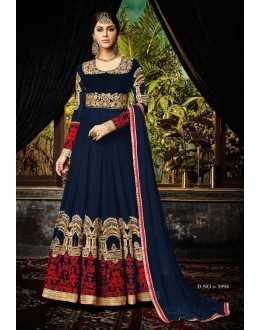 Festival Wear Blue Pure Georgette  Anarkali Suit  - 3994