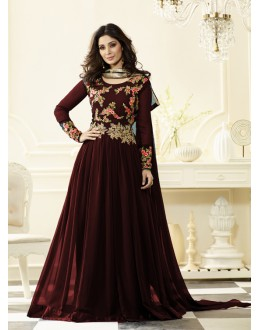 Traditional Wear Maroon Georgette Anarkali Suit - Jashn-B