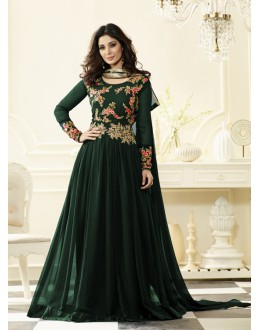 Casual Wear Green Georgette Anarkali Suit - Jashn-D