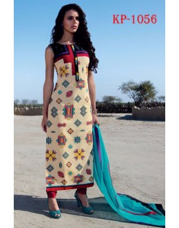 Ethnic Wear Readymade Cream Kurti - JumariKP1056