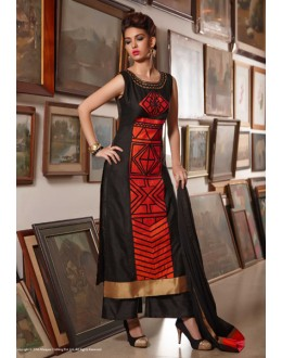 Office Wear Readymade Black Red Kurti - Jumari13