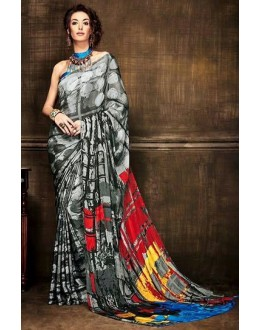 Ethnic Wear Grey Crepe Silk Saree  - Kaalina13005