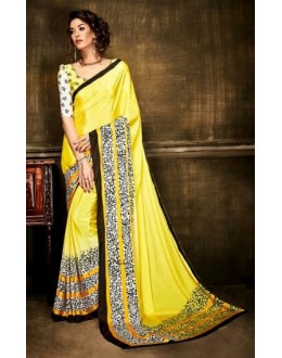 Ethnic Wear Yellow Crepe Silk Saree  - Kaalina13007