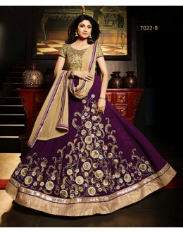 Shilpa Shetty In Purple Net Georgette Anarkali Suit - Karma7022-B
