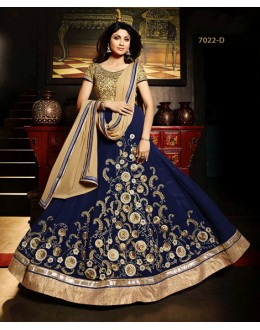 Shilpa Shetty In Blue Net Georgette Anarkali Suit - Karma7022-D