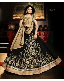 Shilpa Shetty In Black Net Georgette Anarkali Suit - Karma7022-F