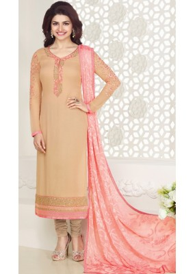 Office Wear Chickoo & Peach Georgette Churidar Suit - Kashish4023