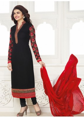 Festival Wear Black & Red Georgette Salwar Suit - Kashish4028