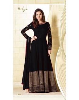Party Wear Black Georgette Silk Anarkali Suit  - LT99005Black