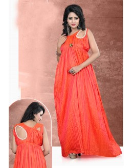 Readymade Paper Silk Orange Kurti - LaskaraK229