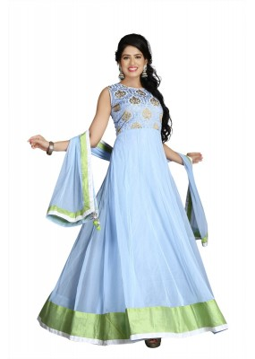Wedding Wear Sky Blue Net Anarkali Suit  - 10025