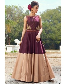 Ready -Made Designer Maroon & Cream Tapeta Silk Gown - Liza03