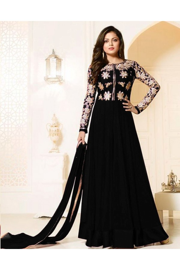 Party Wear Black Georgette Anarkali Suit  - MadhuBalaRF20284