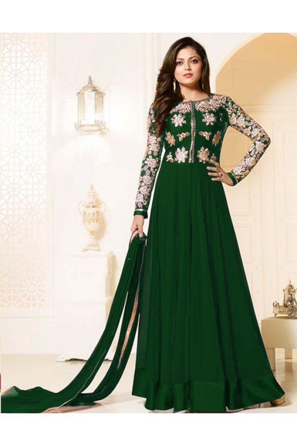 Ethnic Wear Green Georgette Anarkali Suit  - MadhuBalaRF20286