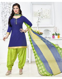 Office Wear Blue & Green Cotton Patiyala Suit  - Manjari15004