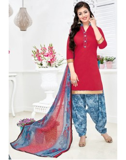 Ethnic Wear Red & Sky Blue Cotton Patiyala Suit  - Manjari15010