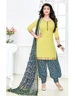 Casual Wear Yellow & Grey Cotton Patiyala Suit  - Manjari15012