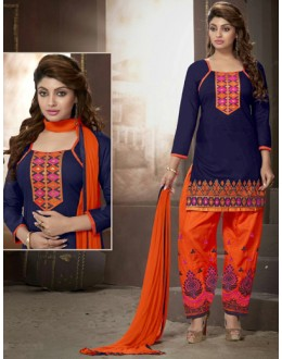 Festival Wear Blue Cotton Patiyala Suit  - ManjariLFA151-01