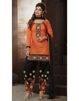 Party Wear Orange Cotton Patiyala Suit  - ManjariLFA151-03