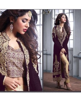 Festival Wear Dark Purple Velvet Slit Salwar Suit  - Maskeen23002