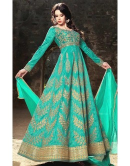 Festival Wear Green Banarasi Silk Salwar Suit - Mirage1582