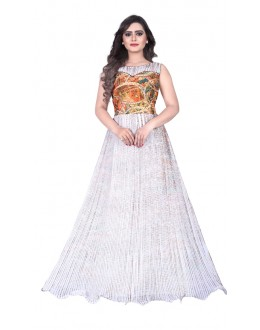 Party Wear White Georgette Gown - MIRZA2016