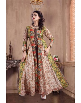 Party Wear Multicolour Pure Silk Gown - MISTHI08