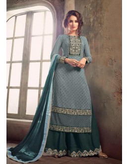 Party Wear Grey Georgette Palazzo Suit - Mohini 31001Grey