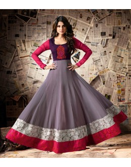 Jennifer Winget In Grey Georgette Anarkali Suit  - Mugdha11005