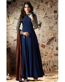 Jennifer Winget In Blue Georgette Anarkali Suit  - Mugdha11006