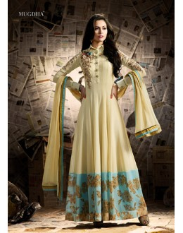 Jennifer Winget In Cream Georgette Anarkali Suit  - Mugdha11008