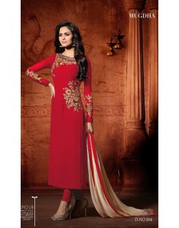 Wedding Wear Red Georgette Salwar Suit - Mugdha104Red
