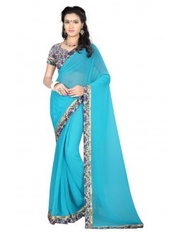 Sky Blue Colour Georgette Attractive Saree  - MyraSkyBlue