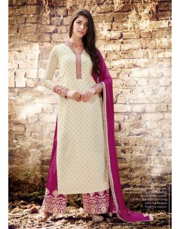 Party Wear Off White Georgette Palazzo Suit - 1022 B