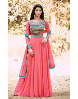 Festival Wear Light Pink Georgette Anarkali Suit - 1026 A