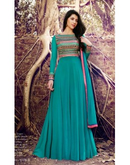 Wedding Wear Firozi Georgette Anarkali Suit - 1026 B