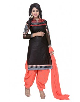 Office Wear Black & Orange Pure Cotton Patiyala Suit  - Natasha2200