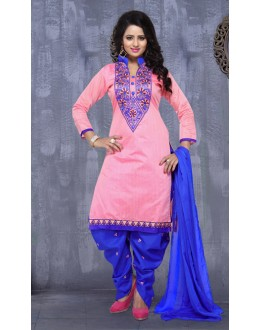 Festival Wear Pink & Blue Pure Cotton Patiyala Suit  - Natasha2300