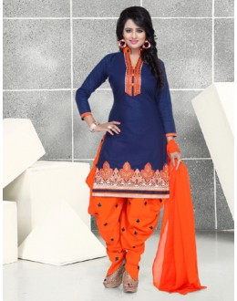 Office Wear Blue & Orange Pure Cotton Patiyala Suit  - Natasha2400