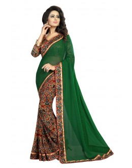 Ethnic Wear Green Georgette Saree  - OpoGreen